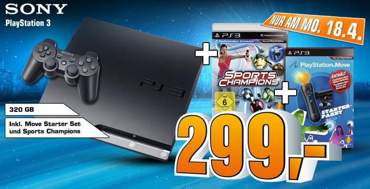 Playstation 3 Bundle mit Move für 299€ statt 367€ (nur am 18.04.)