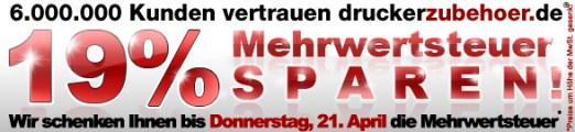 Mehrwertsteuer sparen bei druckerzubehoer.de - günstige Tintenpatronen und Nachfüll-Sets *Update*