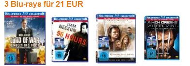 3 Blu-rays für 21€ - neue Amazon Aktion