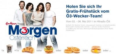 Gratis Ö3 Frühstück bei McDonald's Österreich - Alle Losungswörter