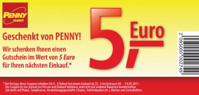 5 Euro Penny Gutschein zum ausdrucken (25 Euro MBW)