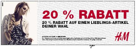 20% Rabatt Gutschein zum ausdrucken für H&M!
