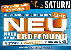 Heute ist Saturn Neueröffnung in Linz (7 bis 20 Uhr)