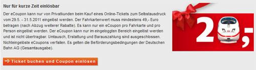 20 Euro Bahn Gutschein für Normal und Sparpreise