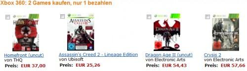2 Xbox Spiele kaufen und nur 1 bezahlen - Zur Auswahl stehen Crysis 2, Assassin's Creed 2, Darksiders, ...
