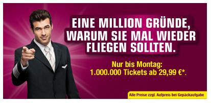 Germanwings verkauft 1.000.000 Tickets für 29,99 € *Update* Neue Flüge ab 29,99 €