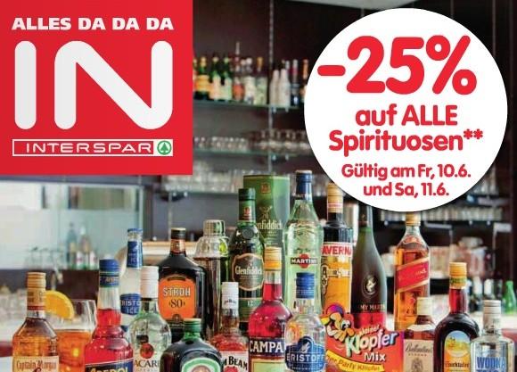25% Rabatt auf Bier bei Merkur + 25% auf Spirituosen bei Interspar!