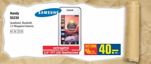 Samsung S5230 Touchhandy (vertragsfrei) für 48€!