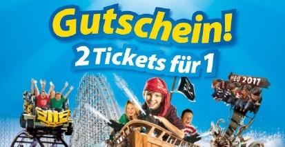 2 für 1 Eintrittsgutschein für viele Freizeitparks und Attraktionen