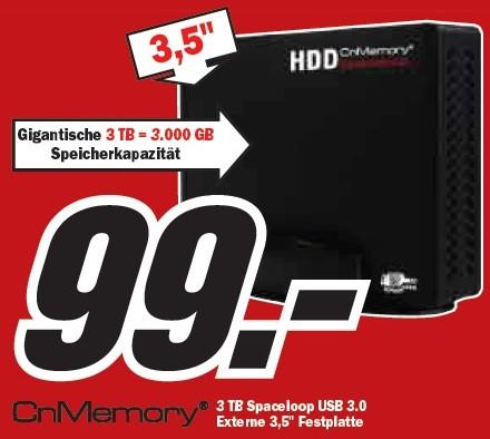 "Media Markt: Externe Festplatte (3.5"", 3TB, USB3.0) für 99€!"