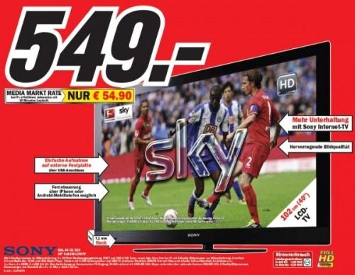 """Sony KDL-40CX520 (40"""", Full-HD, PVR-Ready) für effektiv 469€"""