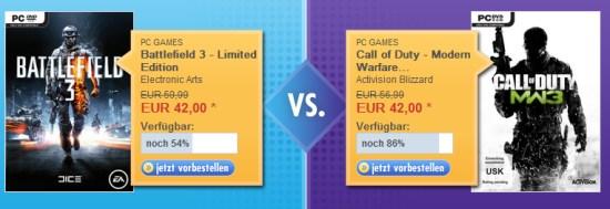 """Battlefield 3 und Modern Warfare 3 für je 42€ vorbestellen - mit """"Glück"""" noch einen 7 Euro Bol-Gutschein bekommen"""