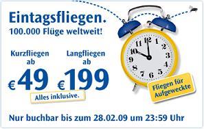 Condor Eintagsfliegen - innereuropäische Flüge ab 49€, internationale ab 199€