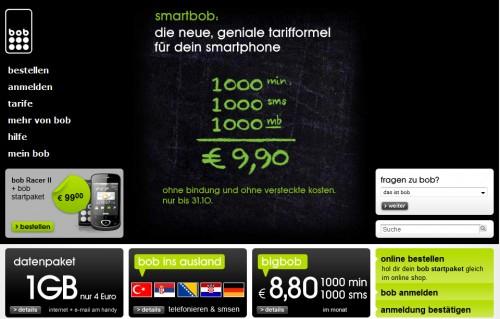 smartbob - 1.000 Minuten, 1.000 SMS und 1GB für 9,90 Euro monatlich