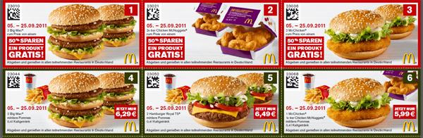 Neue McDonalds Gutscheine - ab 05.09.2011 gültig