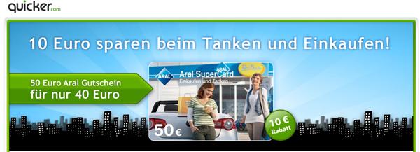 10 Euro beim nächsten Tanken mit Quicker Gutschein sparen