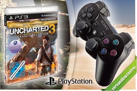 Uncharted 3 + PS3 Controller für nur 69 Euro statt 95 Euro