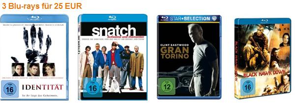 3 Blu-rays für 20 Euro bzw. 25 Euro