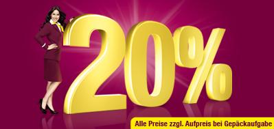 Bis Sonntag gibt es 20% Rabatt auf Germanwings Flüge