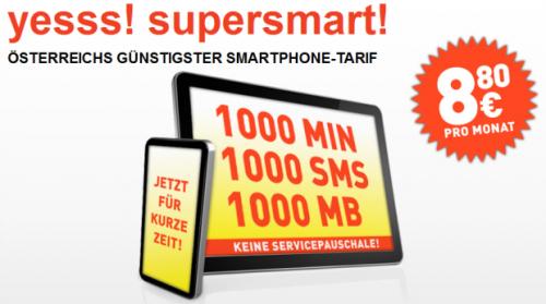 """""""yesss! supersmart!"""" - 1.000 Minuten, 1.000 SMS und 1GB für 8,80€"""