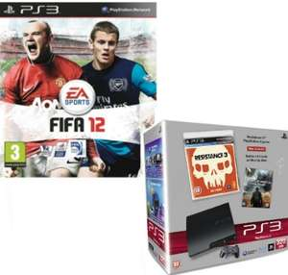 PS3 320GB + Resistance 3 + FIFA12 + Battle:LA (Blu-ray) + HDMI Kabel für ~268€