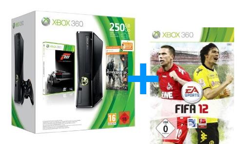 Amazon Konter: Xbox 360 250GB Konsole inkl. Forza 3 und Crysis 2 + FIFA 12 + 3 Monate Xbox Live Gold für 222€