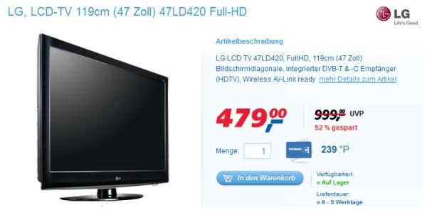 """LG 47LD420 (47"""", Full-HD, LCD-TV) für 479€ statt 560€"""