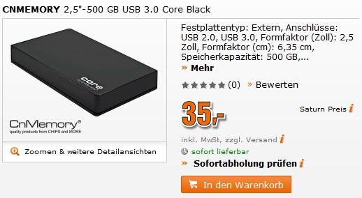 """Externe Festplatte: CnMemory Core 2,5"""" 500 GB USB3.0 für 35€ statt 54€"""