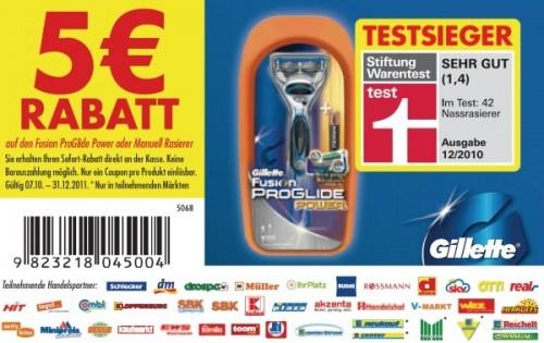 Doppelter Rabatt auf Gillette Fusion ProGlide bei Rossmann