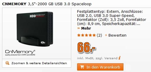 """CnMemory Spaceloop 2TB 3.5"""" USB3.0 für 66€ bei Saturn"""