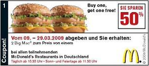 Neue McDonalds Gutscheine für ganz Deutschland