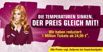 Günstige Germanwings Aktionstickets - Flüge ab 24,99 Euro