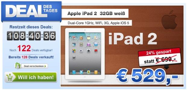 Top! iPad 2 32GB mit 3G und Wifi für 537€ anstatt 639€ *UPDATE*