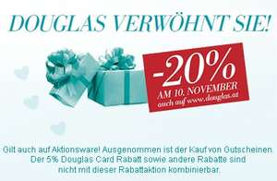 Nur heute: 20% Rabatt im österreichischen Douglas-Onlineshop