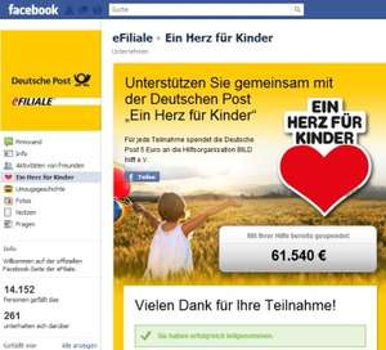 """Macht mit! Die Post spendet für jeden Teilnehmer 5 Euro an """"Ein Herz für Kinder"""""""