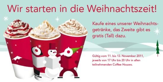 """Starbucks: """"2-für-1""""-Aktion auf die neuen Weihnachtsgetränke"""