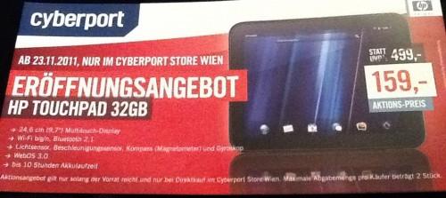 Eröffnungsangebot: HP Touchpad 32GB für 159€ im Cyberport Store Wien