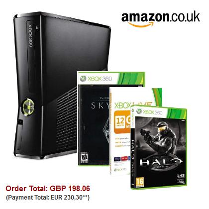 Super XBox 360 Bundle (inkl. 2 Spiele + 12 Monate Live Gold) für 230€ statt 320€