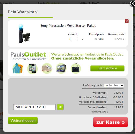 Sony PS3 Move Starter Pack für 18 Euro