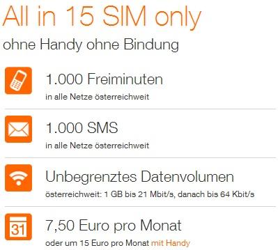 Orange SIM-Only Tarif für 7,91€/Monat (keine Bindung, 1000 Freiminuten/SMS/MB) *Update*
