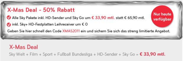 Genialer Sky X-Mas Deal: Komplettpaket (Film + Sport + Bundesliga + HD + Sky Go) für 33,90€ statt 65,90€!