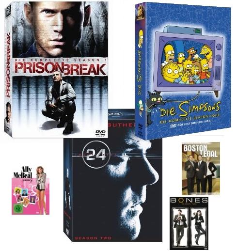 3 Staffeln diverser TV-Serien für 30€ auf DVD - u.a. Die Simpsons,Prison Break, 24, Ally McBeal