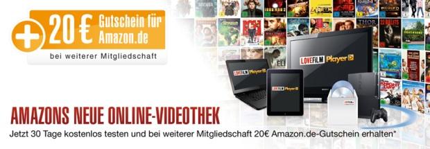 30 Tage Lovefilm kostenlos testen und bei weiterer Mitgliedschaft einen 20€ Amazongutschein erhalten