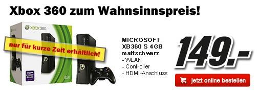 XBox 360 S 4GB für 149€ statt 178€ bei Media Markt Österreich