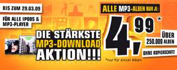 Mp3-Alben für je 5€ zum Download bei Saturn