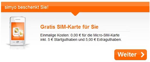 Gratis Simyo SIM-Karte mit 5 bis 10€ Startguthaben