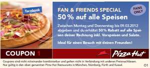 Pizza Hut Gutscheine: Buy 1 get 1 free - 50% Rabatt - 2€ auf 1 Pizza