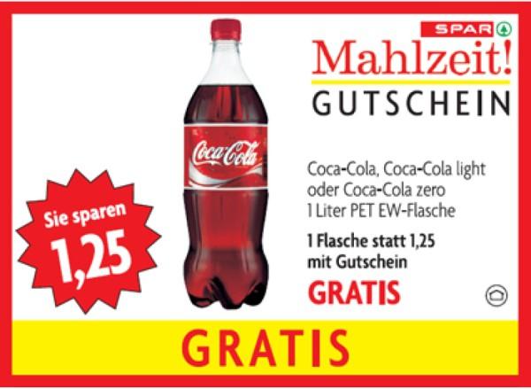 Gratis Coca Cola (1 Liter) bei Spar bis 22.02.2012 (statt 1,25€)!