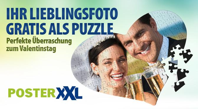 Herz-Puzzle mit eigenem Foto (28x20 cm) für 4,99€ statt 19,98€ zum Valentinstag!