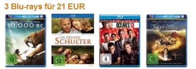 3 Blu-rays für 21 Euro bei Amazon mit zahlreichen neuen Filmen